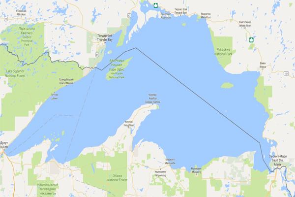 озеро Верхнее на карте мира